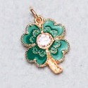 Amuleto Trebol 4 Hojas verde/dorado